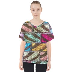 Colorful Painted Bricks Street Art Kits Art V Neck Dolman Drape Top