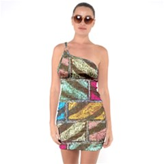 Colorful Painted Bricks Street Art Kits Art One Soulder Bodycon Dress