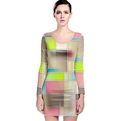 Background Abstract Grid Long Sleeve Bodycon Dress