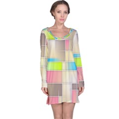 Background Abstract Grid Long Sleeve Nightdress