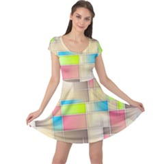 Background Abstract Grid Cap Sleeve Dress