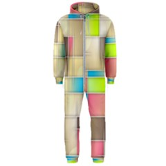 Background Abstract Grid Hooded Jumpsuit (men)