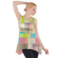 Background Abstract Grid Side Drop Tank Tunic