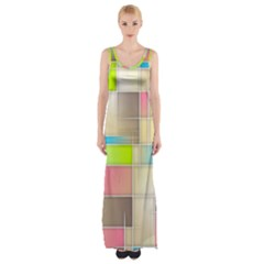 Background Abstract Grid Maxi Thigh Split Dress