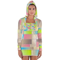 Background Abstract Grid Long Sleeve Hooded T Shirt