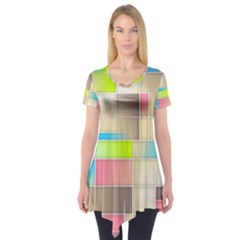 Background Abstract Grid Short Sleeve Tunic