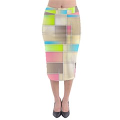Background Abstract Grid Midi Pencil Skirt