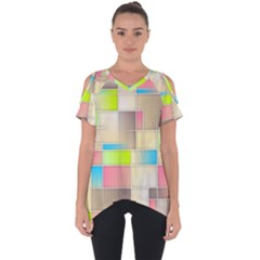 Background Abstract Grid Cut Out Side Drop Tee