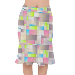 Background Abstract Grid Mermaid Skirt