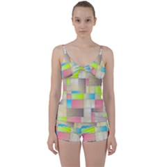 Background Abstract Grid Tie Front Two Piece Tankini