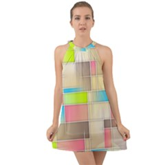 Background Abstract Grid Halter Tie Back Chiffon Dress