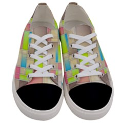 Background Abstract Grid Women s Low Top Canvas Sneakers