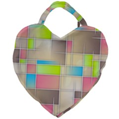 Background Abstract Grid Giant Heart Shaped Tote