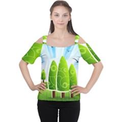 Landscape Nature Background Cutout Shoulder Tee