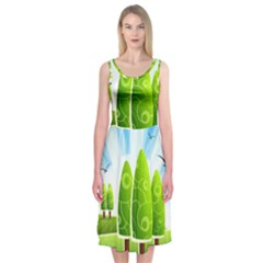 Landscape Nature Background Midi Sleeveless Dress