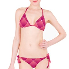 Pink Background Geometric Design Bikini Set