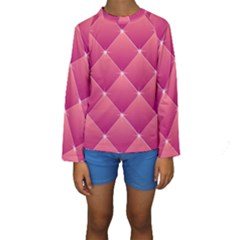 Pink Background Geometric Design Kids  Long Sleeve Swimwear