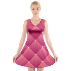 Pink Background Geometric Design V Neck Sleeveless Skater Dress
