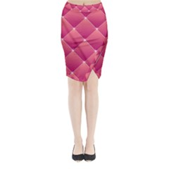 Pink Background Geometric Design Midi Wrap Pencil Skirt