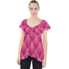 Pink Background Geometric Design Lace Front Dolly Top