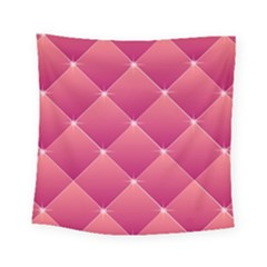 Pink Background Geometric Design Square Tapestry (small)