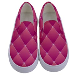 Pink Background Geometric Design Kids  Canvas Slip Ons