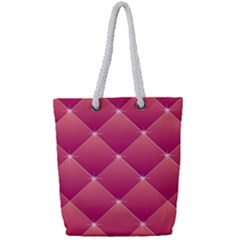 Pink Background Geometric Design Full Print Rope Handle Tote (small)