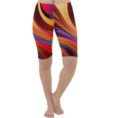 Abstract Colorful Background Wavy Cropped Leggings