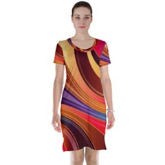 Abstract Colorful Background Wavy Short Sleeve Nightdress