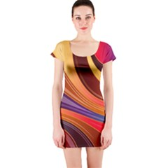 Abstract Colorful Background Wavy Short Sleeve Bodycon Dress