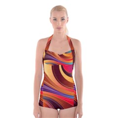 Abstract Colorful Background Wavy Boyleg Halter Swimsuit