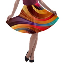 Abstract Colorful Background Wavy A Line Skater Skirt