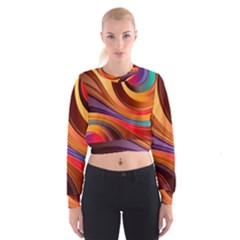 Abstract Colorful Background Wavy Cropped Sweatshirt