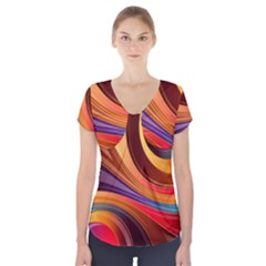 Abstract Colorful Background Wavy Short Sleeve Front Detail Top
