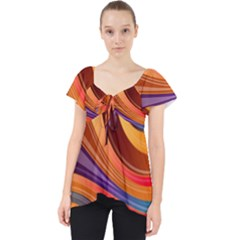 Abstract Colorful Background Wavy Lace Front Dolly Top