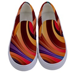 Abstract Colorful Background Wavy Kids  Canvas Slip Ons