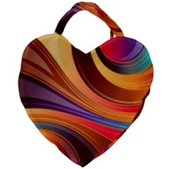 Abstract Colorful Background Wavy Giant Heart Shaped Tote
