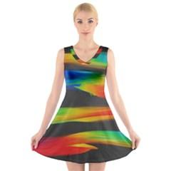 Colorful Background V Neck Sleeveless Skater Dress