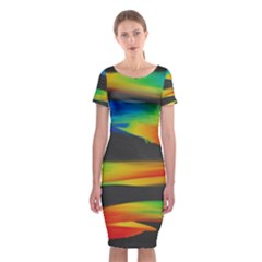 Colorful Background Classic Short Sleeve Midi Dress
