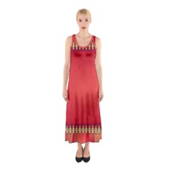 Background Red Abstract Sleeveless Maxi Dress