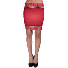 Background Red Abstract Bodycon Skirt