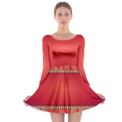 Background Red Abstract Long Sleeve Skater Dress