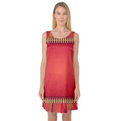 Background Red Abstract Sleeveless Satin Nightdress