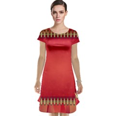 Background Red Abstract Cap Sleeve Nightdress