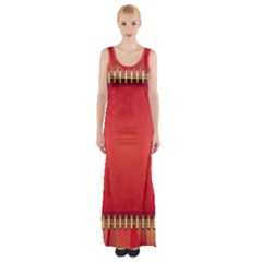 Background Red Abstract Maxi Thigh Split Dress