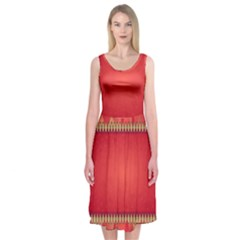 Background Red Abstract Midi Sleeveless Dress