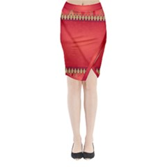 Background Red Abstract Midi Wrap Pencil Skirt