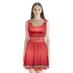 Background Red Abstract Split Back Mini Dress