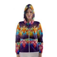 Badge Abstract Abstract Design Hooded Wind Breaker (women)