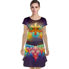 Badge Abstract Abstract Design Cap Sleeve Nightdress